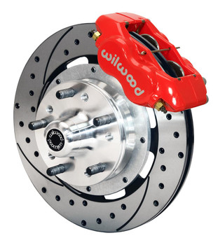 Disc Brake Kit, DynaPro 6, Front, Slotted/Drilled Rotor, 6-Piston Caliper, Red Powdercoated, Ford, Kit