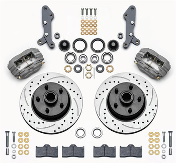 Disc Brakes, Classic Series Dynalite, Front, Manual, Cross-drilled/Slotted Rotors, Gray Calipers, Ford, Kit