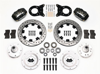 Disc Brakes, Front, Big Brake, Cross-Drilled, Slotted Rotors, 4-Piston Calipers, Ford, Kit