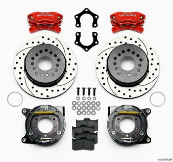 Parking Brake, Rear, Dynalite, Cross-Drilled/Slotted Rotor, 4-Piston Red Caliper, Chrysler, Dodge, Kit