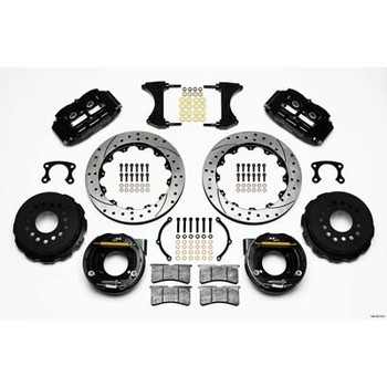 Brake Kit, Drilled Rotor, Black Four Piston Caliper, Rear, Ford, Big New Style 8/9 in., Kit