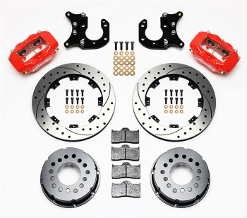 Disc Brakes, Rear, Pro Series, Cross-Drilled Rotors, 4-Piston Red Calipers, Ford, 9 in. Big Ford Ends, Kit