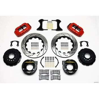 Disc Brakes, Rear, Superlite 4R, Cross-Drilled/Slotted Rotors, 4-Piston Black Calipers, Big Ford Ends, Kit