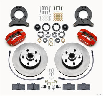 Disc Brake Kit, Classic Dynalite, Front, Solid Rotor, 4-Piston Caliper, Red Powder coated, Ford, Kit