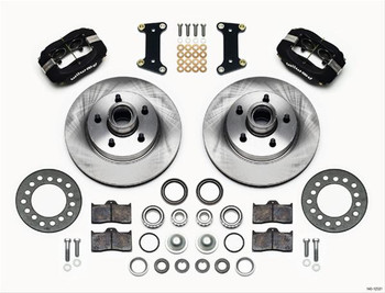 Disc Brakes, Dynalite 1-piece Rotor and Hub, Front, Solid Surface Rotors, 4-piston Calipers, Black, Buick, Kit
