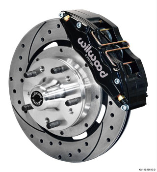Disc Brake Kit, DynaPro 6, Front, Slotted/Drilled Rotor, 6-Piston Caliper, Black Powder coated, Ford, Kit