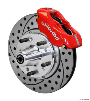Disc Brakes, Dynalite Pro, Front, Manual, Red Calipers, Dodge, Plymouth, OE Drum Brake Spindles Only, Kit