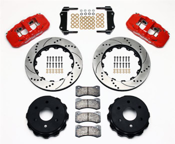 Disc Brakes, W4A, Rear, Slotted/Drilled Rotors, 4-Piston Red Calipers, Chevy, GMC, Kit