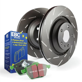 Brake Rotors, Stage 3, Slotted and Dimpled Surface, Black Geomet Coated, Organic Pads, Front, Ford, Kit