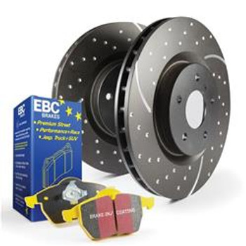 Brake Rotors, Stage 5 Superstreet, Black Geomet Coated, Pads, Front, Cadillac, Chevy, GMC, Kit