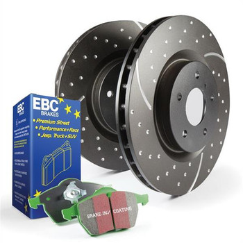 Brake Rotors, Stage 3, Slotted and Dimpled Surface, Black Geomet Coated, Organic Pads, Front, Toyota, Kit