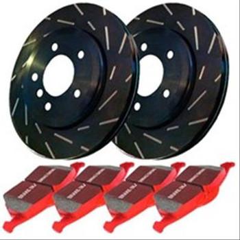 Brake Rotors, Stage 4 Signature, Slotted, Black Geomet Coated, Ceramic Pads, Front, Chrysler, Dodge, Kit