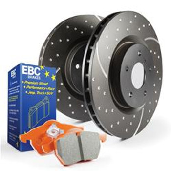 Brake Rotors, Stage 3, Slotted and Dimpled Surface, Black Geomet Coated, Pads, Front, Chrysler, Dodge, Kit