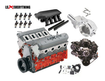 "Engine Type: LSX-Series Gen-IV Small-Block V-8 ◦Displacement (cu. in.): 376 (6.2L) ◦Bore x Stroke (in.): 4.065 x 3.622 (103.25 x 92 mm) ◦Block (P/N 19260095): LSX cast-iron with six-bolt, cross-bolted main caps ◦Crankshaft (P/N 12685659): Nodular iron ◦Connecting Rods (P/N 12649190): Powdered metal ◦Pistons (P/N 19244016): Forged aluminum ◦Camshaft Type (P/N 12623063): Hydraulic roller ◦Valve Lift (in.): 0.551 intake / 0.522 exhaust ◦Camshaft Duration (@0.050 in.): 204° intake / 211° exhaust ◦Cylinder Heads (P/N 12629063): LS3 rectangular port; with ""as cast"" 68-cc chambers ◦Valve Size (in.): 2.160 intake / 1.590 exhaust ◦Compression ratio: 9:1 ◦Rocker Arms (P/N 12669995 int): Investment-cast, roll trunnion ◦Rocker Arms (P/N 12681275 exh): Investment-cast, roll trunnion ◦Rocker Arm Ratio: 1.7:1 ◦Recommended Fuel: Regular pump ◦Maximum Recommended rpm: 6600 ◦Reluctor Wheel: 58X ◦Balanced: Internal ----------------------------- The kit also includes hardware and components that does not typically come with a used or salvage yard engine, such as the wiring harness, mass airflow meter and electronic throttle pedal assembly, eliminating the need to source them separately!   This controller system is a true stand-alone system for use in older vehicles, as all that's needed to get a vehicle running with it are power and ground sources, a 58-psi (400 kPa) fuel pump and an electric cooling fan.   Features: •Two oxygen sensors •Two oxygen sensor mounting bosses (for installation in the exhaust system) •Mass airflow meter •Mass airflow meter mounting boss(for installation in the air intake system •Throttle pedal assembly (for use with the electronically operated throttle) •Engine wiring harness •Programmed controller •Instruction sheet •12-month/12,000-mile warranty ----------------------  Coupling this Hi–Ram intake with the high flowing LS1/LS2/LS6 style cylinder heads has outstanding potential for N/A and forced induction applications at a budget–minded cost. Aggressive, bold, race–bred styling will make bad intentions clear for drag race, muscle car, marine, off–road, sandrails, pulling trucks, track, street–rod applications and more! Made for Cathedral Port Heads.   • The base is designed to be modular in configuration to accept a wide range of carbureted and EFI tops and to be attractive to builders and fabricators as the foundation for custom induction systems.  • Runner length and the tapered cross–section designed to perform well for a wide range of engine configurations   • EFI fuel rails are machined for –8AN O–ring Fittings with passages large enough to accommodate high fuel flows and dampen pressure pulsations in the fuel system and come standard with EFI Hi–Ram kits.   • Cast aluminum construction.   • Intended for use on N/A or forced induction engines in the 6.0 to 7.0+ liter range, max power at 7000–8000+RPM."