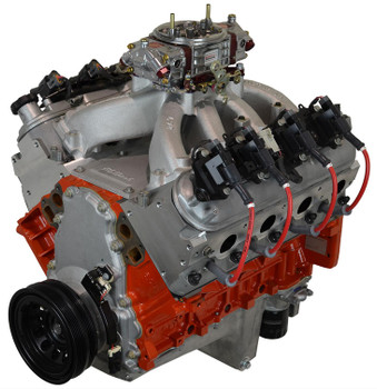 High Performance LS GM 408 600 hp long block crate engines make an impressive 545 ft./lbs. of torque! They are built with a forged crankshaft, forged pistons, and forged connecting rods, factory LS3 cylinder heads 68.4cc combustion chambers, Victor Jr. intake manifold and 850 cfm carburetor. The engines are equipped with a LS7 hydraulic roller camshaft. 1.7 ratio roller rocker arms, aluminum oil pan, aluminum timing cover, harmonic balancer, spark plugs, ignition wires, ignition coils, and valve covers to complete the bone crunching LS power.