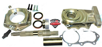 This adapter kit adapts either 2wd or 4wd late model 4L60E with removable bell housing to the GM NP205 with 10 spline male input. The adapter kit includes a two piece adapter assembly with VSS sensor, tone wheel, new short 4L60E main shaft, 27 x 10 spline coupler, oring, gasjets and fastening hardware.   The 51-0405 adapter was designed to make this style of 4L60E look just like a 700R. By incorporating a new clamp-on reluctor ring and sensor on this adapter, a 40 pulse per output shaft revolution signal is generated for the drivetrain control module. This adapter kit comes with a new clamp-on reluctor ring that should be installed on the new 700R output shaft that is also part of this kit. This clamp-on reluctor ring clamps over the stock governor gear on the 700R output shaft. We have provided two reluctor sensor locations to choose from in the adapter. The hole not being used will need to be plugged with the plug provided.   The one piece GM 700R4 output shaft used in this kit is made out of 4340 alloy steel. This output shaft is manufactured with the highest quality materials and standards as the OEM output shaft.