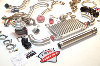 "This is the turbo kit you have been looking for!    Now you have the perfect option for your under powered Chevy/GMC Truck! Tired of not being able to get your dually out of its own way? Now you have the right option, and you don't need a Cummins to get it done and have that sound! LS Swap it and GO TURBO! Please note that for best results, you will want to use our Motor Mounts for your swap.   Perfect Fitment. Keeps All Stock Parts and Accessories. MAF Sensor Wires May Need to Be Cut and Extended. The standard kit comes with a single Big T4 Turbo Provision, Supports 700-800 WHP. The standard turbo is most efficient up to 18psi, the ball bearing turbos are efficient up to 22-35 psi each, depending on which version you get (ball bearing vs. billet ball bearing). 60mm Vband WG and 50mm BOV Provision 2.5"" Cross Pipe 3"" Turbo Downpipe then Enlarged to 3.5"" Exhaust Pipe    For Larger Vortec V8 (5.3L, 6.0L) with Built Motor and Larger Turbo, This Kit Supports 700-800 WHP with the standard turbo. Expect more with the Turbo Upgrades and intercooler.  Don't forget to your fuel injector upgrade   Includes:  -T76 Turbo, with Filter -Turbo Headers + Cross Pipe (3 pieces) -Downpipe (3 pieces) -Dump Pipe (1 piece) -Wastegate -2.5'' Vband Clamp x2 -3'' Vband Clamp x3 -T4 Turbo Elbow Adapter x1 -Oil Line Kit  Product Info and Specs:  Manifold: -Custom designed for 4.8/5.3/6.0. Keeps All Stock Parts and Accessories Stainless Steel 1.65"" Runner Tube -T4 Turbo Elbow Adapter. Flexible Fitment For Many Turbos. -60mm Vband Wastegate Provision -2.5"" Cross Pipe with Vband Connections -Comes with 60mm WG Dump Tube  Downpipe: -2 pcs 3"" Downpipe Connects to Turbo (Fits Turbo with 3"" Vband Exhaust Outlet) -3.5"" Straight Exhaust Pipe  T4 Turbo and Wastegate: -4"" Air Inlet -2.5"" Compressed Air Outlet -Wet Floating Bearings -Standard T4 Flange -76mm Wheel Compressor -.81 A/R Turbine -3"" V-band Hot Side -60 mm 12Psi V-Band Wastegate  Note:  Intercooler Kit Upgrade is available from the dropdown menu above. Please select your intercooler size, and it will be added to your turbo kit.  -Exhaust Pipe Is 3.5 Straight Pipe, It Does NOT Have Flange Welded, You Will Need To Fabricate the Rest of the Exhaust System. -Off Road or Track Use ONLY, NOT for Street Use."