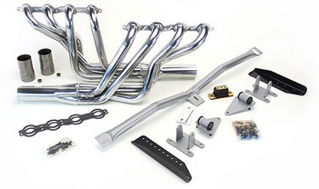 This swap kit is for the 1964-1967 Chevelle, El Camino, Le Mans, GTO, Cutlass, Skylark, GS and Tempest. It was designed around our LH8 oil pan kit. The frame brackets bolt into existing holes in the frame so you know the engine will have clearance for accessory drives, factory AC box, power brake booster, and aftermarket suspension components. Unlike others, our kit positions the engine so there is no steering interference and maintains the proper drive-line angle for smooth highway cruising. We offer a complete line of Muscle Rods headers that give unparalleled performance and ground clearance with sizes that are matched to your engine combo. These combined parts offer an easy, strong, and clean installation of your LS engine. 66 and 67 El Caminos use the Convertible part numbers since they had the same boxed frame. See our installation guide for more info on this LS swap.