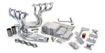 1970-1981 F-Body LS Conversion Kit  This swap kit is for the 1970-1981 Camaro and Firebird. It was designed around our f-body oil pan using our Sure-Fit crossmember system. It bolts into existing holes in the subframe and was designed to give you the most options for front accessory drives. Unlike most LS swap parts on the market this kit replaces the frame brackets in addition to the mounts so you'll have clean mounting of your engine and not a mix of parts that are weak and don't work together properly. Unlike others, our kit positions the engine so there is no steering interference and maintains the proper drive-line angle for smooth highway cruising. It provides clearance for the factory AC box, power brake booster, and aftermarket suspension components.  We offer a complete line of Muscle Rods headers that give unparalleled performance and ground clearance with sizes that are matched to your engine combo. These combined parts offer an easy, strong, and clean installation of your LS engine.