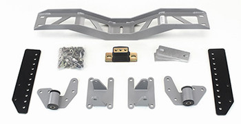 Mount and Crossmember Kit for Camaro, Firebird, Z28, Trans Am, and Formula. Includes motor mounts, frame brackets, transmission crossmember, transmission mount, and hardware.  Manufactured from the highest grade American made steel. They're laser cut, precision bent, powder coated and feature polyurethane bushings.  Comes with a lifetime free replacement warranty on the bushings.