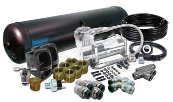 """FRONT TO BACK MANUAL SETUP  (1) VIAIR 380C COMPRESSOR (1) 5-GALLON 6-PORT TANK (BLACK OR SILVER) (2) PNEUMATIC SWITCH AIR RIDE (1) 50' OF 1/4"""" NYLON D.O.T. AIR LINE (1) 200psi PRESSURE SWITCH (2) 1/4"""" 3-WAY PLASTIC PUSH CONNECT TEE (6) 1/2"""" x 1/4"""" REDUCING BUSHING (2) 1/4"""" LINE x 1/4"""" PIPE MALE PLASTIC PUSH CONNECT ELBOW (4) 1/4"""" x 1/4"""" MALE PLASTIC PUSH CONNECT STRAIGHT (1) 1/4"""" PIPE DRAIN COCK (1) 1/4"""" HEX PLUG (1) WIRING KIT (1) DUAL NEEDLE GAUGE WITH AIRLINE & FITTINGS  ***IN ADDITION TO THE KIT ABOVE YOU'LL RECEIVE THE FOLLOWING ITEMS FOR FREE!!! $55 VALUE!!!***  (1) WATER TRAP WITH 1/4"""" PORTS (BLACK OR SILVER) (1) 1/4"""" HEX NIPPLE (1) COMPRESSOR MOUNTING PLATE"""