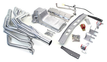 1968-74 X-Body LS Conversion Kit  This swap kit is for the 1968-1974 Nova & Ventura II. It was designed around our GM LH8 oil pan using our Sure-Fit crossmember system. It bolts into existing holes in the subframe and was designed to give you the most options for front accessories drives. Unlike most LS swap parts on the market this kit replaces the frame brackets in addition to the mounts so you'll have clean mounting of your engine and not a mix of parts that are weak and don't work together properly. Unlike others, our kit positions the engine so there is no steering interference and maintains the proper drive-line angle for smooth highway cruising. It provides clearance for the factory AC box, power brake booster, and aftermarket suspension components.  We offer a complete line of Muscle Rods headers that give unparalleled performance and ground clearance with sizes that are matched to your engine combo. These combined parts offer an easy, strong, and clean installation of your LS engine.