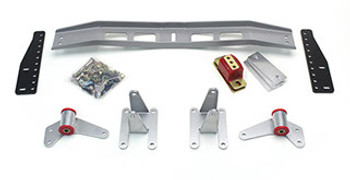 1968-1974 Chevy Nova  Mount and Crossmember Kit  Includes motor mounts, frame brackets, transmission crossmember, transmission mount, and hardware.  Manufactured from the highest grade American made steel. They're laser cut, precision bent, powder coated and feature polyurethane bushings.  Comes with a lifetime free replacement warranty on the bushings.