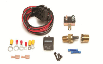 These FAN-THOM II electric fan relay kits come with a threaded thermostat that screws into the engine block or intake manifold for a clean and professional look. These kits provide protection for your electric fans and wire harnesses. They supply constant voltage, protect against voltage and amperage spikes, and prevent the fan from back-feeding voltage through your vehicle's wire harnesses. 185 On/175 Off
