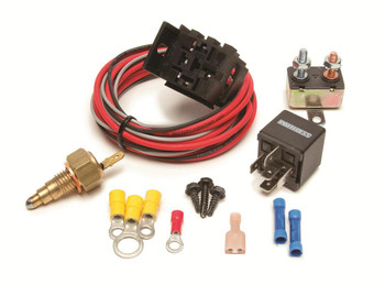 These FAN-THOM II electric fan relay kits come with a threaded thermostat that screws into the engine block or intake manifold for a clean and professional look. These kits provide protection for your electric fans and wire harnesses. They supply constant voltage, protect against voltage and amperage spikes, and prevent the fan from back-feeding voltage through your vehicle's wire harnesses. 205 On/190 Off