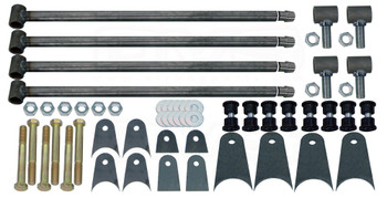 "(4) 1.50"" TIG WELDED LINK BARS, 32"" LONG (WHICH CAN BE CUT DOWN) (4) WELD-IN THREADED INSERTS (4) ADJUSTABLE THREADED ROD ENDS (TIG WELDED) (8) 1.5"" URETHANE BUSHING SETS (8) BUSHING SLEEVES (6) PAIRS OF MOUNTING TABS (1) HARDWARE PACK (6) 9/16 Bolts (6) Locknuts (12) Washers"