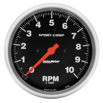 "These Sport-Comp series tachometers are the trademarks of the entire AutoMeter line. With rugged race styling and unmatched performance, they have been in more winning vehicles than any other gauge on the market today. 5"" Tachometer. Electric."