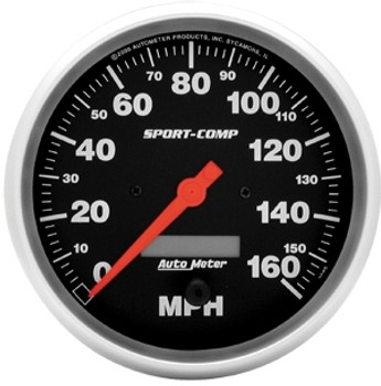 These Sport-Comp series speedometers are the trademarks of the entire AutoMeter line. With rugged race styling and unmatched performance, they have been in more winning vehicles than any other gauge on the market today.  Gauge Range:0-160 mph Gauge Size (in):5 in. diameter Gauge Size (mm):127.00mm diameter Sweep:270 degree sweep Sending Unit:Electrical Tripometer:Yes Tripometer Display:Digital Gauge Face Color:Black Gauge Number Color:White Pointer Color:Red Bezel Finish:Silver Quantity:Sold individually. Gauge Type:Speedometer Resettable trip odometer. Will work with most factory sensors.
