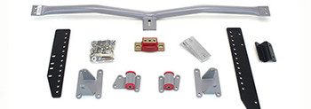 Mount and Crossmember Kit for (78-83) Malibu (78-87) El Camino & (81-87) Regal/Grand National.  Includes motor mounts, frame brackets, transmission crossmember, transmission mount, and hardware.  Manufactured from the highest grade American made steel. They're laser cut, precision bent, powder coated and feature polyurethane bushings.  Comes with a lifetime free replacement warranty on the bushings.