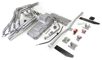 Hello LSx Guys! Get your F-Body on the road daily - get your project on the road with this swap kit!  This swap kit is for the 1982-1992 Camaro and Firebird. It was designed around our 4th gen f-body oil pan. It bolts into existing holes in the subframe and was designed to give you the most options for front accessory drives. Unlike most LS swap parts on the market this kit replaces the frame brackets in addition to the mounts so you'll have clean mounting of your engine and not a mix of parts that are weak and don't work together properly. Unlike others, our kit positions the engine so there is no steering interference and maintains the proper drive-line angle for smooth highway cruising. It provides clearance for the factory AC box, power brake booster, and aftermarket suspension components.  We offer a complete line of Muscle Rods headers that give unparalleled performance and ground clearance with sizes that are matched to your engine combo. These combined parts offer an easy, strong, and clean installation of your LS engine. See our installation guide for more info on this LS swap. Shown here with optional headers.