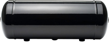 "ACCUAIR 3-GALLON ALUMINUM TANK W/ BLACK FINISH  Powder Coated Black  6.78"" x 19.10"" with (1) 1/8"" PORTS,  (4) 1/4"" PORTS  & (2) 3/8"" PORTS  Aluminum tanks are lightweight and corrosion resistant. These units are extruded and 100% TIG welded for maximum quality. The 5-gallon option gives adequate air storage for typical vehicles with 4-Corner Air Suspension (Many will use (2) of these 3-gallon tanks instead). On some lightweight vehicles a single 3-gallon tank can offer adequate air storage.   100% T.I.G. WELDED ALUMINUM  Aluminum construction makes for a light weight, non-corrosive air tank. High quality T.I.G. welds guarantee 100% sealing and a beautiful appearance.  DRAIN PORT  A 1/4"" NPT drain port at the center of the tank allows for occasional moisture draining.  SEAMLESS CONSTRUCTION  Extruded aluminum tank cylinders eliminates the common seam along the length of the tank. This allows our EXO Mount clamping system to fit around the tank at any location."