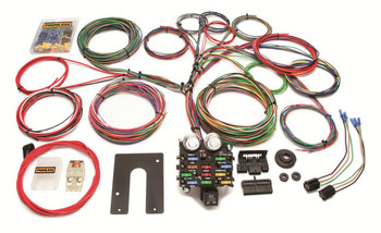 Painless Performance Universal 21-Circuit Truck Harnesses can be used in just about any pickup where basic-or-more wiring is needed. Ample wire lengths make this kit especially suited for everything including trucks with long beds and extra cabs. GM column mounted kit includes GM (column mounted) ignition switch plug and the GM (column mounted) turn signal switch plug pre-terminated and ready to install.  The harnesses include circuits for:  * Air conditioning / heat * Accessory / Cigarette Lighter * Backup lights * Brake lights * Charging * Dome light * Electric choke * Emergency flashers * Fan relay  * Fused power source * Headlights * Horn * Ignition coil * Instrument panel lighting and gauges (see notes above) * Parking lights * Radio (constant/ignition hot) * Starting * Taillights * Third brake light * Turn signals * Wipers