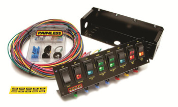 """Painless Wiring switch panels clean up your dashboard wiring by putting all of your switches in one convenient, organized place.  #becauseracecar  Dimensions are 10.75"""" x 3.0"""" x 3.125""""  Switch Panel Style:Roll cage mount Number of Switches:8 Fused Circuits:Yes Circuit Breaker Included:No Lighted:Yes Wiring Harness Included:Yes Relay Included:No Accessory Switch Style:Rocker switch Starter Switch Included:Yes Starter Switch Style:Momentary rocker Switch Panel Material:Aluminum Switch Panel Finish:Black painted"""