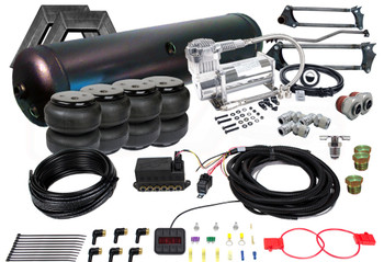 "88-98 SILVERADO/SIERRA TRUCKS AIRLIFT AUTOPILOT V2 AUTO LEVELING SYSTEM  (4) EASYSTREET D2600 DOMINATOR BAG (1) 2""x4"" ONE PIECE NOTCH (1) PARALLEL 4-LINK WITH PAN-HARD BAR (1) 5-GALLON 6-PORT TANK (BLACK OR SILVER) (1) AIRLIFT AUTOPILOT v2 CONTROLLER & MANIFOLD VALVE KIT - 3/8"" SYSTEM (2) VIAIR 444C COMPRESSORS (2) 3/8"" LINE x 1/2"" PIPE MALE PUSH CONNECT STRAIGHT (3) 3/8"" LINE x 1/2"" PIPE MALE PUSH CONNECT ELBOW (2) 1/4"" HEX PLUG (1) 1/2"" HEX PLUG (1) 1/4"" PIPE DRAIN COCK"