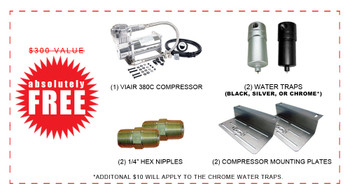 "(1) VIAIR 444C COMPRESSOR (2) 1/4"" WATER TRAP (BLACK OR SILVER) (2) 1/4"" HEX NIPPLE (2) COMPRESSOR MOUNTING BRACKET"