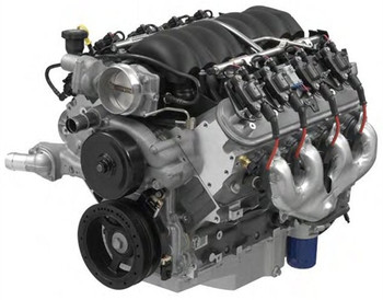"More power from an LS engine. These Chevrolet Performance 6.2L 376 C.I.D. 495 HP engine assemblies feature an impressive 495 HP at 5,570 RPM with 475 lb./ft. of torque. The assemblies use a production bottom end that includes a cast aluminum engine block, nodular iron crankshaft, powdered metal connecting rods and hypereutectic pistons. The Chevrolet Performance 6.2L 376 C.I.D. 495 HP engine assemblies use the race tested LS hot cam. The hydraulic roller camshaft features .525 in. intake and .525 in. exhaust valve lift with a duration at .050 in. of 219 degrees intake and 228 degrees exhaust. The short block is topped with L95 port cylinder heads with as cast 68cc combustion chambers and 2.16 in. intake and 1.59 in, exhaust valves. That puts you at a healthy 10.7:1 compression ratio! Engine assemblies are complete with valve covers, oil pan, timing cover, harmonic balancer, exhaust manifolds, spark plugs, spark plug wires, ignition coil packs and intake manifold.  Specifications • Compression Ratio: 10.7:1 • Recommended Fuel: 92 Octane • Block: Cast Aluminum with 6 bolt cross bolted main caps • Crankshaft: Nodular Iron • Connecting Rods: Powdered Metal Steel • Pistons: Hypereutectic Aluminum • Camshaft: Steel Hydraulic Roller Tappet • Cam Lift: .525 in. Intake / .525 in. exhaust • Cam Duration @ .050 in.: 219 deg. Intake / 228 deg. Exhaust • Lobe Separation: 112 Degree • Cylinder Heads: Aluminum L92 style ports • Combustion Chamber: 68cc  • Valves: 2.165 in. Intake/ 1.590 in. Exhaust • Rocker Arms: Cast Roller Trunnion, 1.7:1 Ratio • Balance: Internal • Reluctor: 58X • Maximum GM Recommended RPM: 6600 • GM Recommended Torque Converter Stall 2400-2800  Engine Includes • Fully GM assembled long block • Ignition Coils, Plug Wires and Spark Plugs  • Oil pump, pick-up and Camaro oil pan • Exhaust Manifolds • Intake, Injectors and Throttle Body • 14"" Auto Trans Flexplate • Harmonic Balancer • Front timing cover • Aluminum Water Pump • Oil Filter • Passenger Side RH Oil Dipstick and Tube"