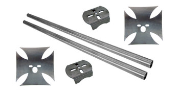 "The iron cross: show your strength! Lay your truck out, support your rear end AND look good doing it! Includes enough that you can trim to fit your notch perfectly.   Kit includes:  Cross-shape bag mounts with cross members  (2) .25"" upper plates (2) axle brackets (2) 1.5"" crossmembers (4' long)"