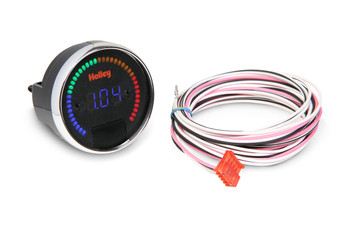 "2-1/16"" diameter gauges designed specifically for use with the Avenger, HP and Dominator EFI systems. They feature a blue numeric LED display as well as a 40 segment multi-color LED bar around the outside of the gauge. Require power and ground but are wired to a single wire output from the ECU for simple wiring. Can be connected to the vehicle headlight switch to allow dimming for better night time viewing. Each gauge can easily be individually programmed for a specific function and operation eliminating the need for other gauges and expensive dedicated sending units (battery voltage, coolant temp, oil pressure, fuel pressure, nitrous pressure, RPM, air/fuel ratio etc.). A ""decal sheet"" is provided with the most common inputs used so the gauges can be correctly labeled."