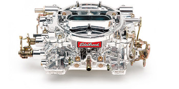 """(CALIBRATED FOR PERFORMANCE)  Designed and calibrated for optimum street performance in small-block and some big-block engines. Match with a variety of manifolds that include Edelbrock Performer, Performer EPS, Performer RPM, RPM Air-Gap, Torker II or other brands of similar design. Includes both timed and full vacuum ports for ignition advance. Electric choke #1478 can be added if needed. Comes with: Metering Jets - Primary .100, Secondary .095; Metering Rods - .070 x .047; Step-Up Spring - orange (5"""" Hg). Use Carb Studs #8008 or #8024 if needed. EnduraShine Finish"""
