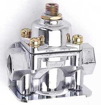 """Adjustable fuel regulation from 4-1/2 to 9 psi .220"""" (7/32"""") restriction 3/8"""" NPT ports ( 1 in, 2 out) Chrome finish Mounting bracket included"""