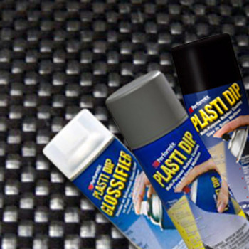 "All the items you need to create a Carbon Fiber visual replica with Plasti Dip®. Perfect for carbon fiber dipping large surface areas like roofs, hoods, etc.   Includes (2) cans Black Spray, (1) can Gunmetal Grey Spray, (1) can Silver Metalizer, (2) cans of Glossifier and a huge 40"" x 59"" Carbon Fiber Pattern sheet."