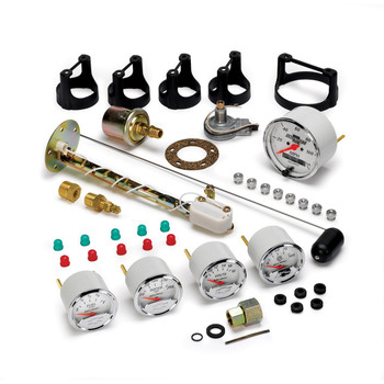 "Feature Points Traditional incandescent lighting illuminates around the perimeter of the dial Kit includes fuel level sender (240E/33F), oil pressure sender, water temperature sender, 2-wire hall-effect speed sender that is compatible with GM/Chrysler applications (7/8"" - 18THD), sending unit adapters (1/4"", 3/8"", and 1/2-1/16"" NPT adapters), bulb and socket assemblies, red and green bulb covers, mounting hardware, and detailed instructions for installation. Auto Meter's race proven air-core electric instruments provide quick and accurate readings while keeping hazardous fluids outside of the vehicle 12 and 16 volt compatible, compatible with nearly every street car or race car electrical system Speedometer has a simple push button, 2 mile drive calibration. No dip switches and can be reprogramed at any time to accommodate changes in gear ratio or wheel and tire combination. Speedometer is compatible with most two wire sine wave and three wire hall effect vehicle speed sensors. Speedometer features lit LCD odometer - capable of registering one-million miles with two resettable trip odometers"