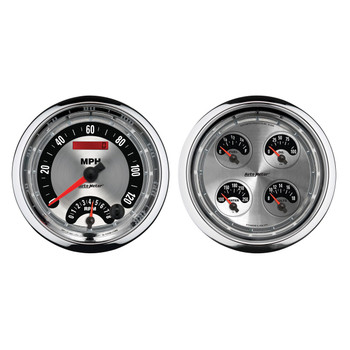 "Sometimes space is limited. The AutoMeter Quad Gauge provides a solution to limited dashboard space while providing a clean look. Individual AutoMeter air core meter movements for each function provide the accuracy and durability required by even the most demanding applications. Includes a single wire 1/8"" NPT temperature sender and a 1/8"" NPT oil pressure sender. The voltmeter reads from 8-18v on negative ground electrical systems and fuel level resistance range is 240 ohms empty to 33 ohms full (compatible with AutoMeter's 3262 fuel level sender)."