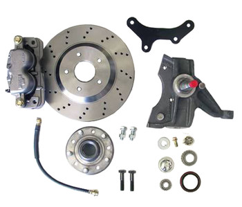 "1963-1970 Chevy/GMC Truck C-10 2WD, 1/2 Ton  Description and Features:  Big Brake 13"" Front Kit 13"" Cross Drilled Rotors 2.5"" Drop Spindles Hubs GM Calipers Brackets Bearings Seals Hoses Banjo Bolts Dust Caps Spindle Nut/Washer Cotter Pins 5 x 5""  Must use 17"" or larger wheels in order to use the spindles. Factory 17"" wheels will work with a slight modification, aftermarket cast 17"" wheels likely won't work."