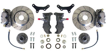 "Upgrade the look and feel of your 64-72 A-Body (Chevelle, LeMans, Century, Skylark, Cutlass, El Camino, Monte Carlo) with an altitude and attitude adjustment!  13"" Cross-Drilled rotor kit, 2"" drop spindles and all of the hardware to install it. This kit requires the use of a minimum of a 17"" wheel.  Order yours and get your sweet A-body stopping on a dime today!"