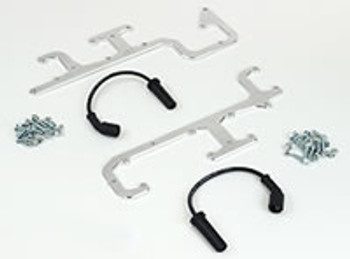 "Our Coil Relocation Kit alleviates the problem of the rear coils hitting the power brake booster or air conditioning box when swapping the LS engines into early vehicles. The relocation brackets are laser cut from brushed stainless steel for a great clean appearance. It relocates the rear coil upwards to provide adequate clearance for power brake boosters and air conditioning. Each kit includes all necessary hardware along with one of our 12"" high performance spark plug wires. Installation is easy, the brackets bolt to the valve cover using existing mounting holes on factory valve covers (as well as most aftermarket valve covers). They are available for all styles of coils and each side separately or together to add symmetry to your installation"